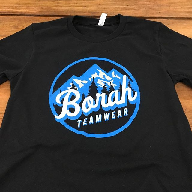 Super soft water based print on some US Made tees for the @borahteamwear team down in LaCrosse. #screenprinting #madeinusa #borahteamwear