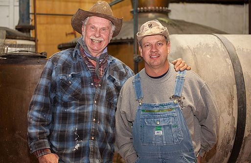 Moonshiners: Chuck Miller with Tim Smith (Photo courtesy Belmont Farm Distillery)