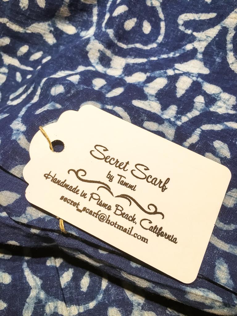Indigo blue, hand blocked batik fabric