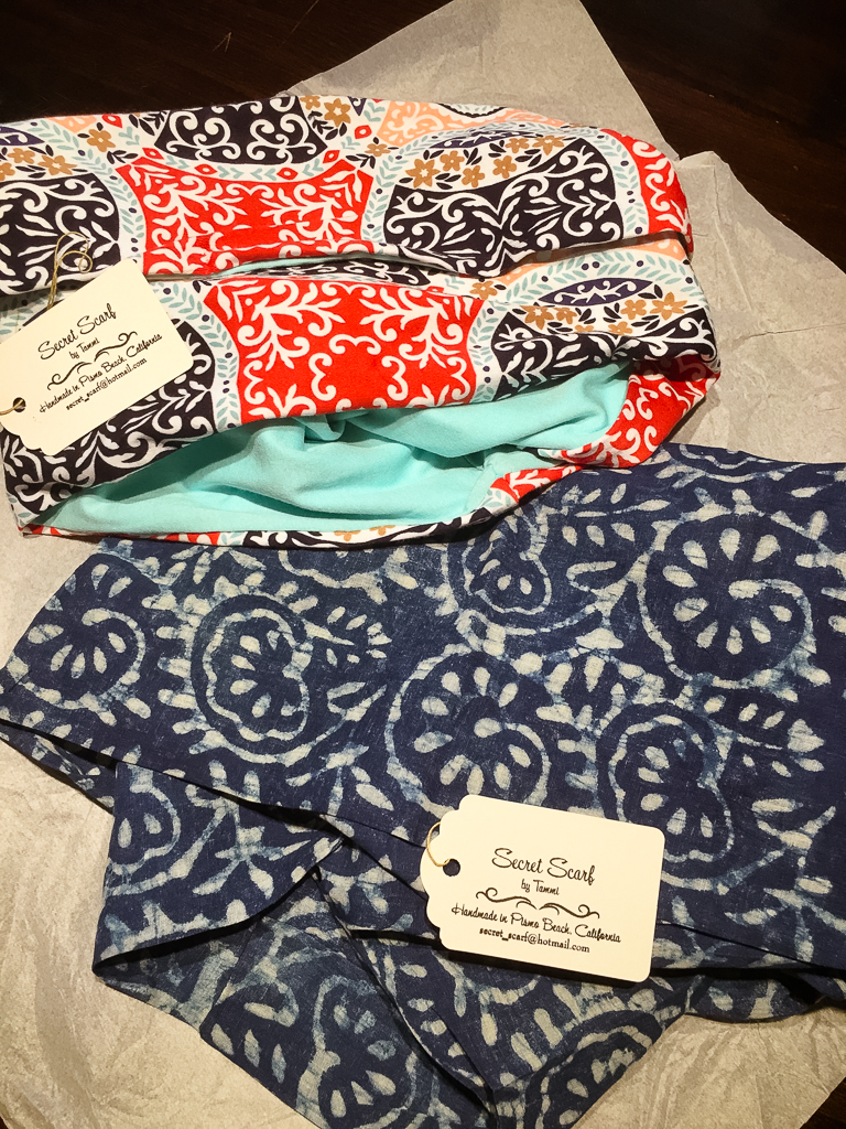 I love the prints of both scarves - or choose two prints for one scarf!