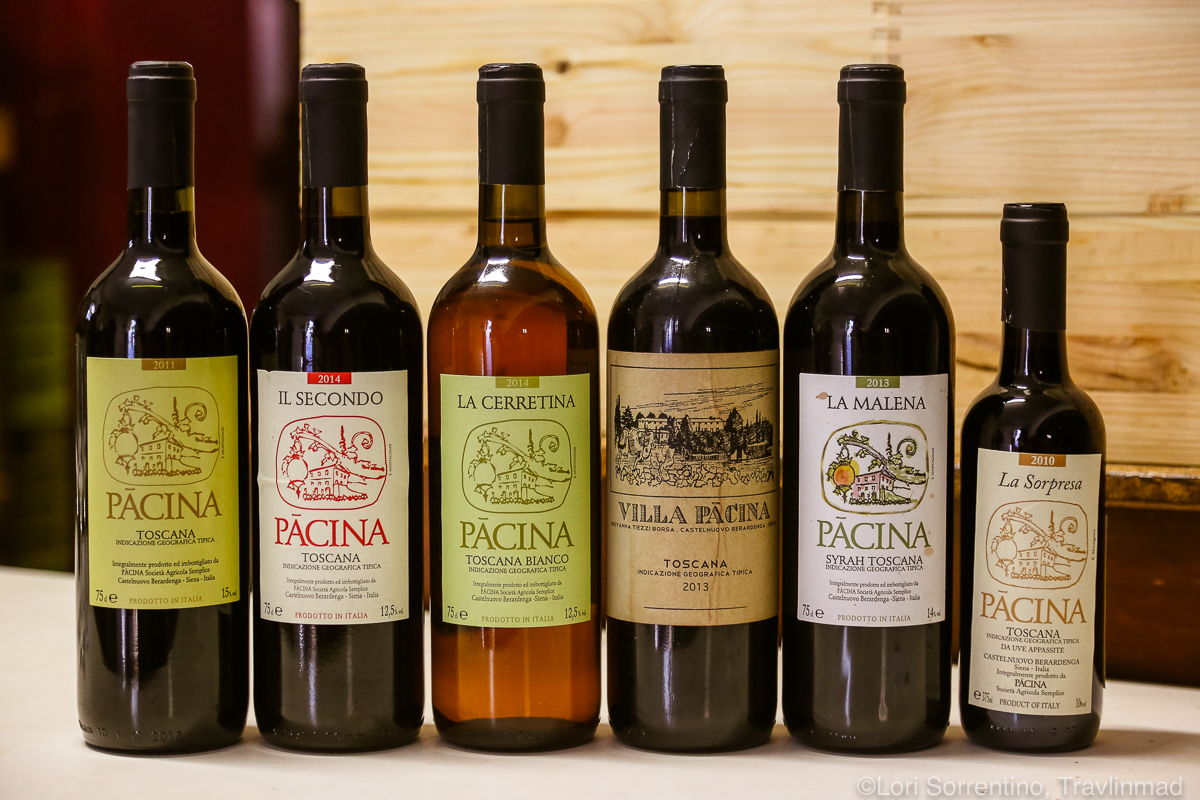 bottles of Pacina wine, Chianti Colli Senesi, Tuscany