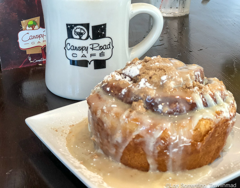 Gooey cinnamon bun at the Canopy Cafe, Tallahassee, Florida