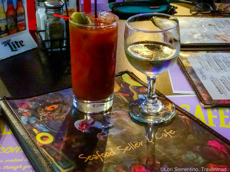 Bloody Mary and white wine at Seafood Seller and Cafe