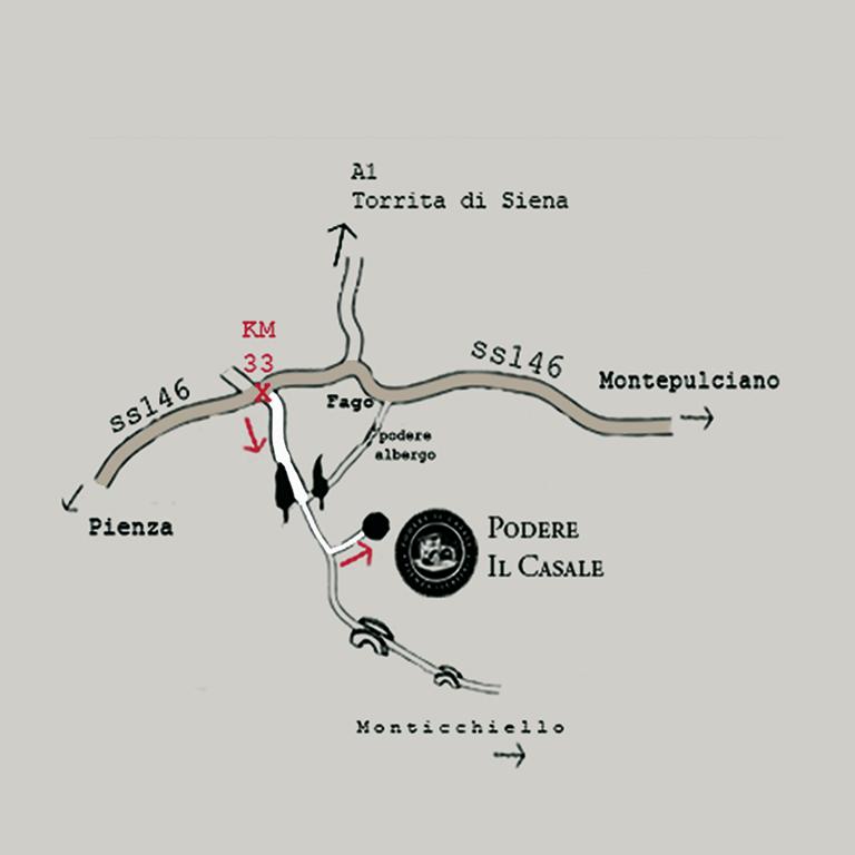 Podere il Casale map, Tuscany, Pienza