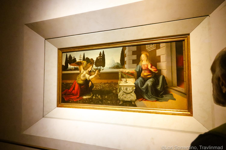 The Annunciation by Leonardo da Vinci at the Uffizi Gallery, Florence, Italy