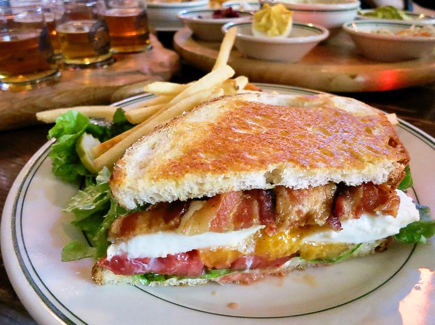 Grilled Cheese with Heirloom Tomatoes and Neuski Bacon at the Old Fashioned in Madison, Wisconsin