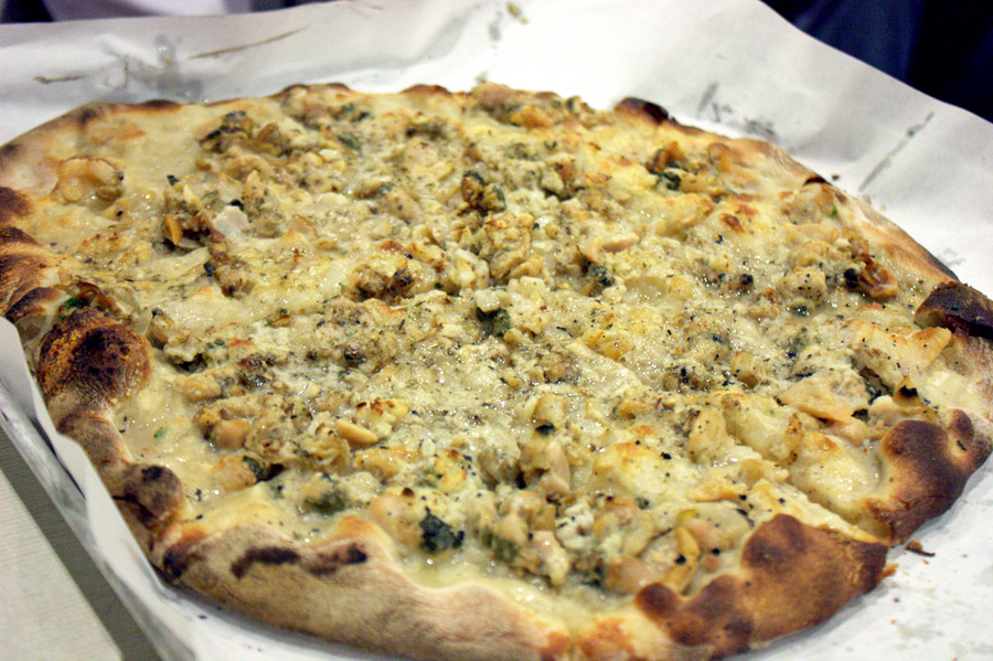 Clam pizza from Frank Pepe Pizzeria Napoletana in New Haven, Connecticut