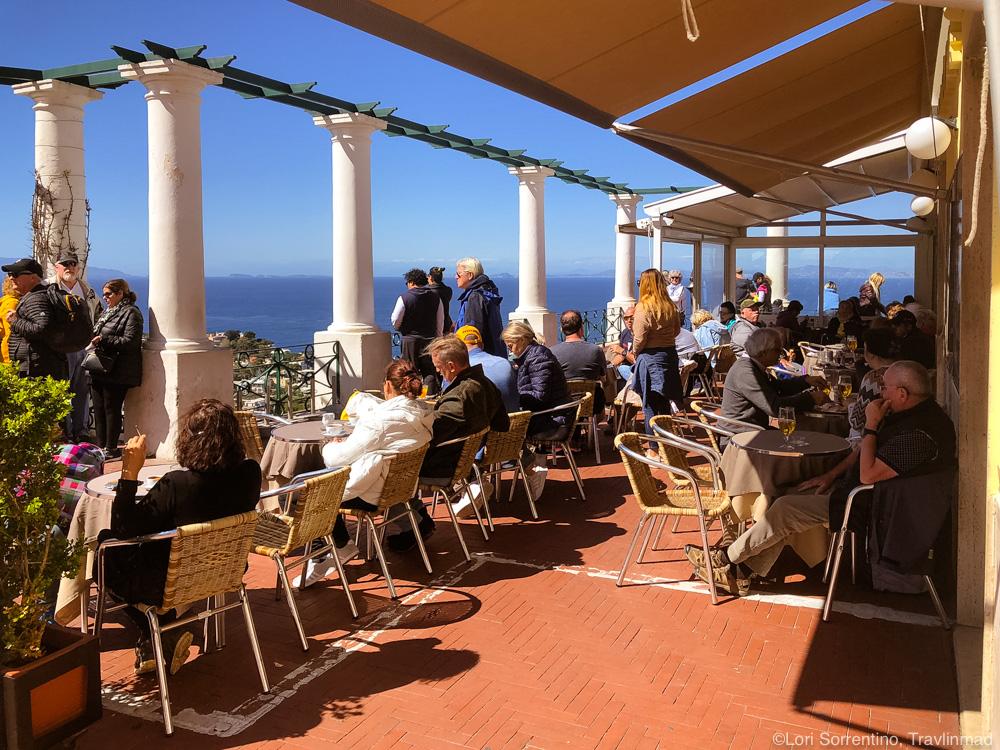Hotel terrace in Capri.