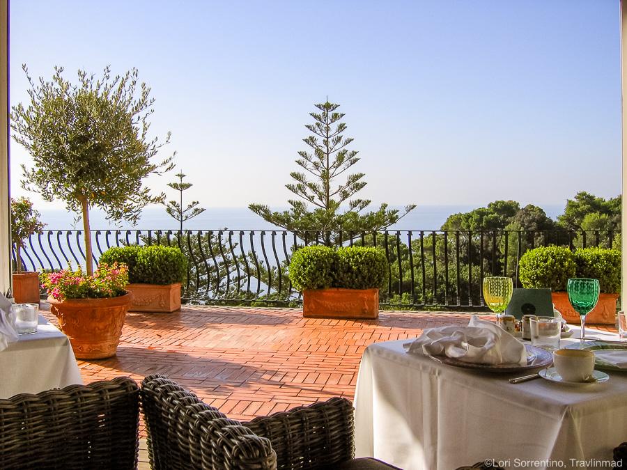 Breakfast terrace at Hotel La Minerva.