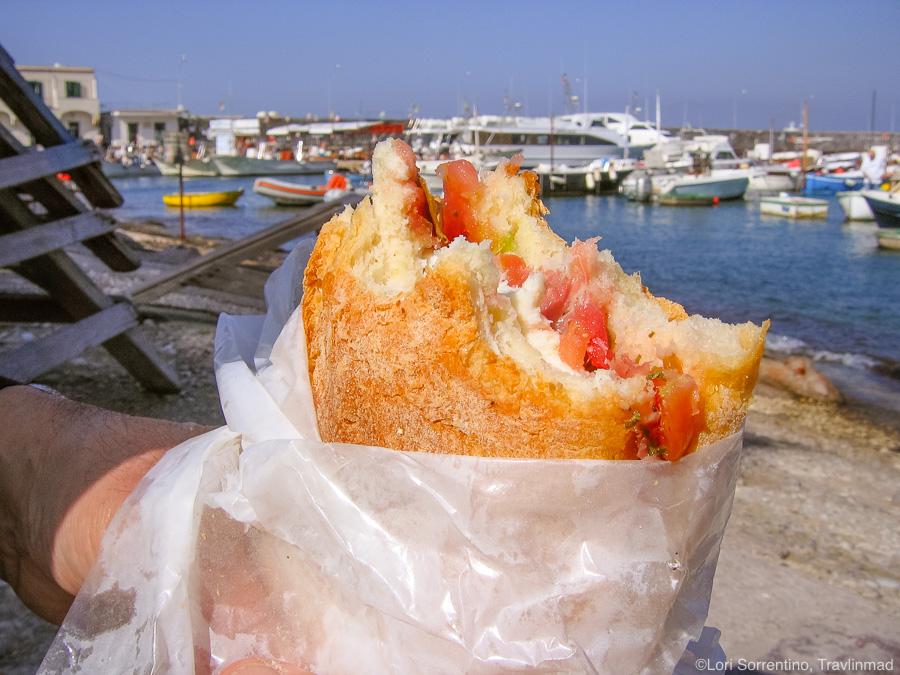 Caprese sandwich from Salumeria da Aldo, Marina Grande, Capri