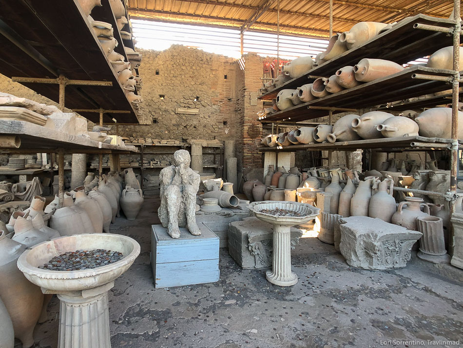 Preserved items and human cast at Pompeii
