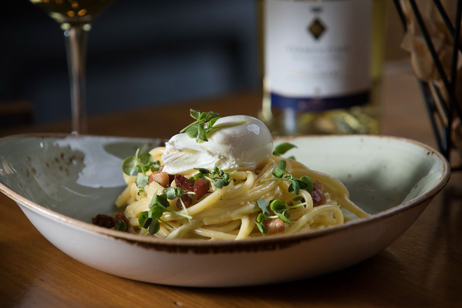 Spaghetti Carbonara with soft poached egg, Photo courtesy: Barbatella