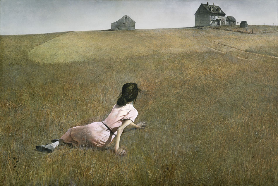 Christina's World (1948) , Andrew Wyeth.  Click to view  detail from original at MoMA, NYC.