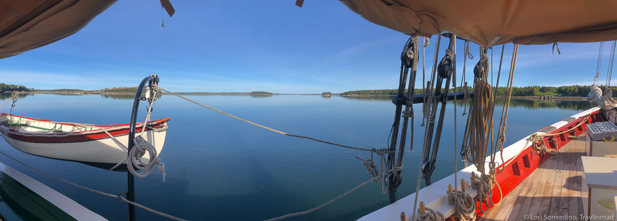 A beautiful morning on board the Maine Windjammer Schooner J. & E. Riggin at anchor