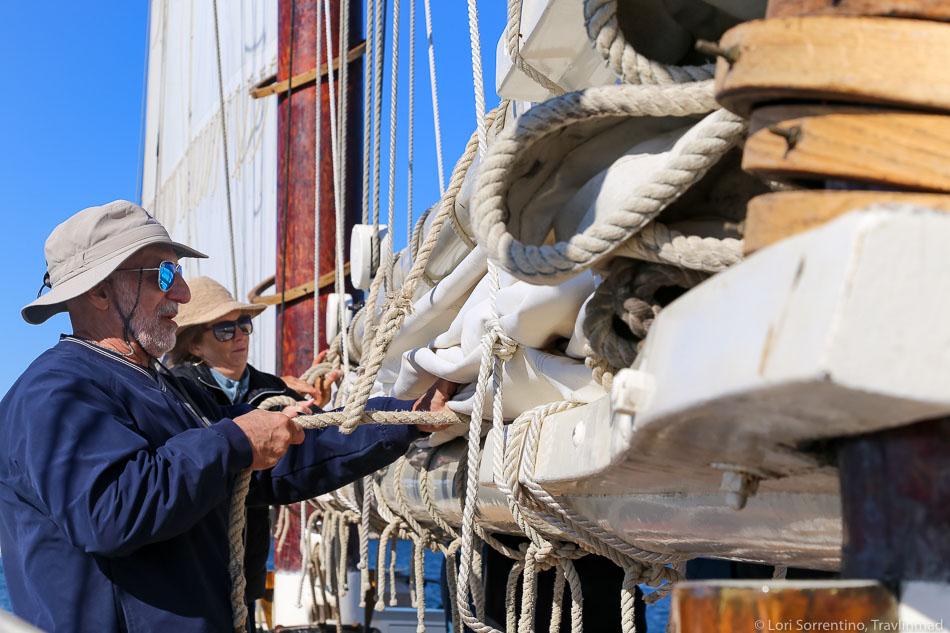 Furling the sails on the J & E Riggin