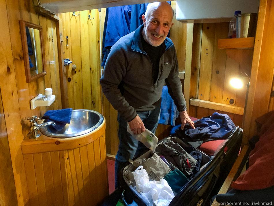 Unpacking in cabin 1