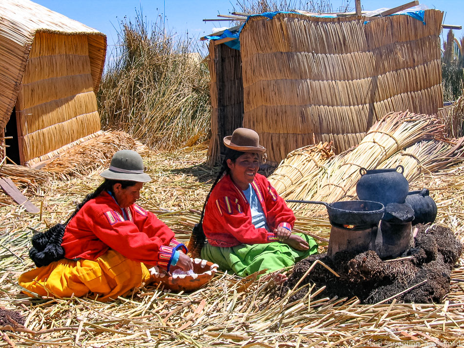 Uros islands home, Lake Titicaca, Peru