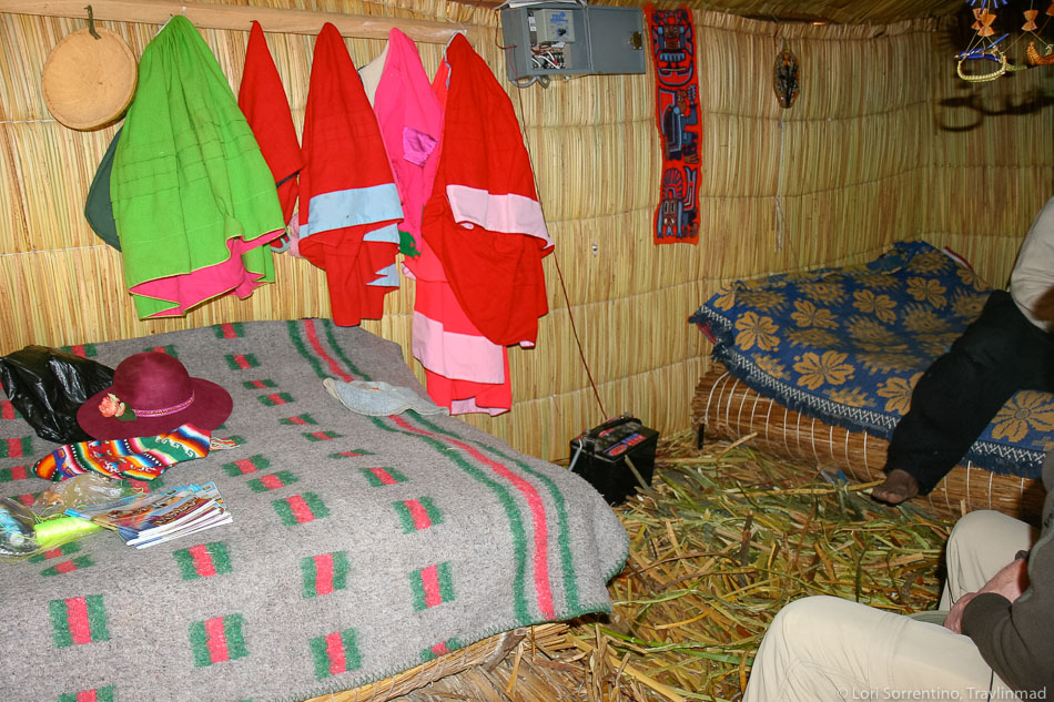 Inside an Uros islands home, Lake Titicaca, Peru