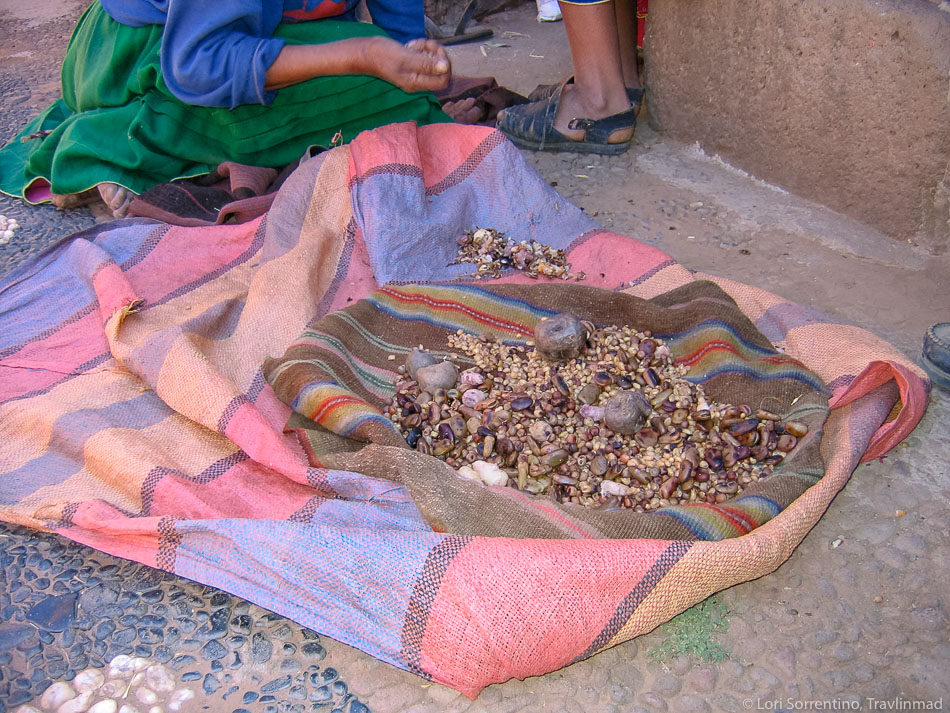 Lunch of roasted beans and legumes, Isla Amantani, Lake Titicaca, Peru