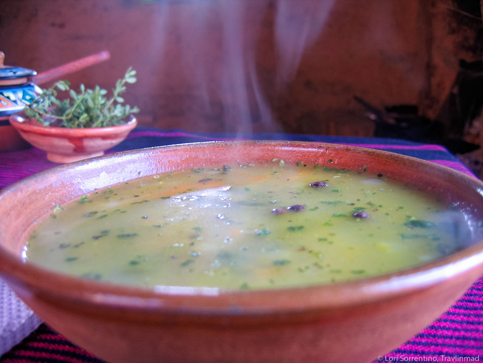 hot soup, Amantani homestay, Lake Titicaca, Peru