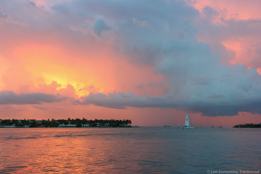 Thundery sunset over Mallory Square, Key West, Florida