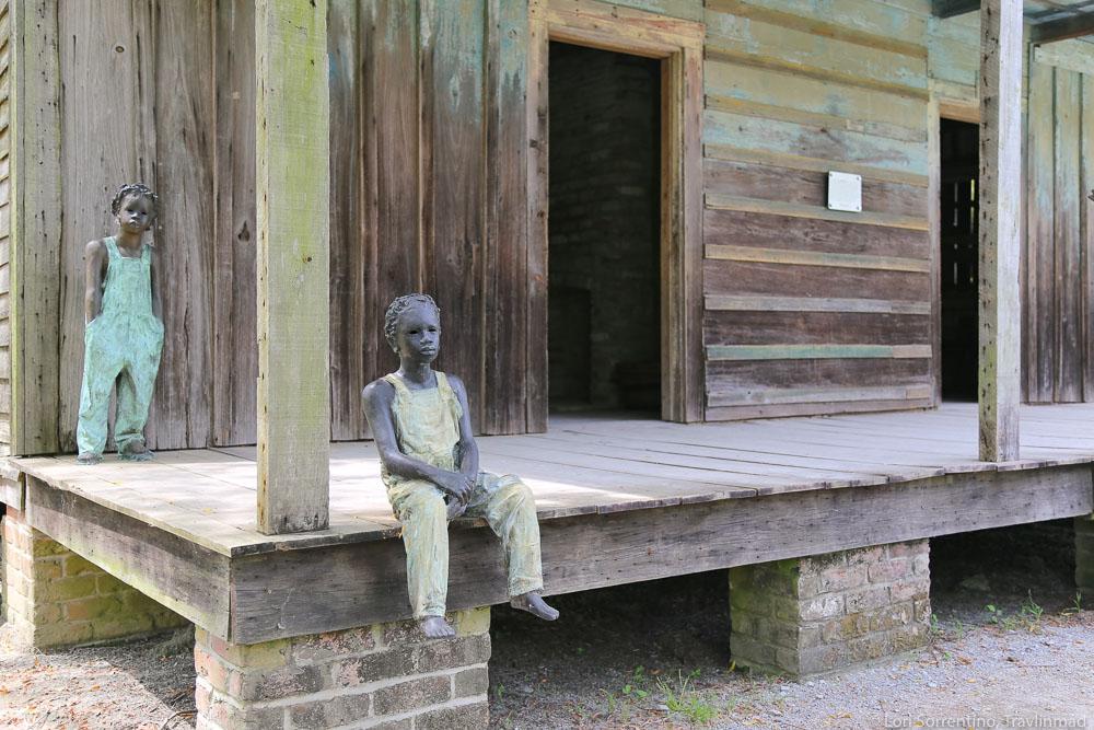 Children of Whitney in slave cabin, Whitney Plantation, Louisiana