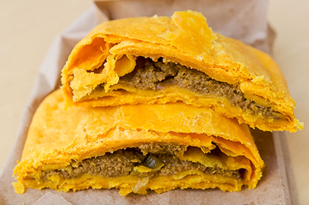 Jamaican meat patties with sweet potato dough