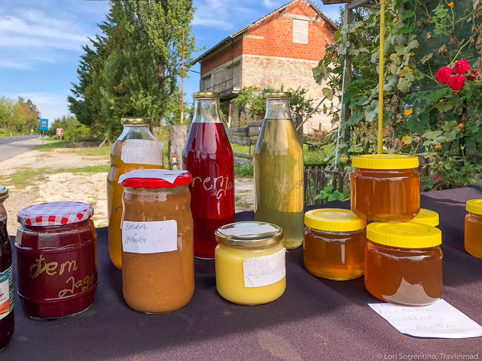 Organic Slovenian honey at a road side stand