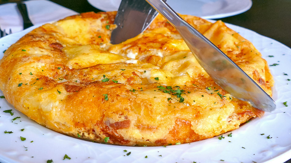 Frika omelette, typical in the Soča Valley of Slovenia