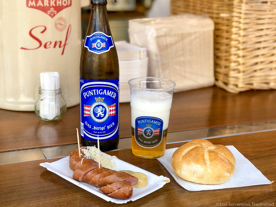 Krainer sausage with senf (mustard), kren (horseradish), and semmel roll in Graz