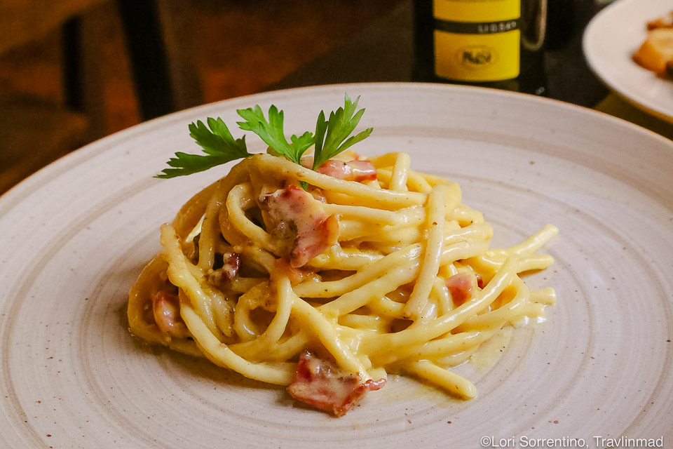 Traditional Spaghetti alla Carbonara made with creamy egg and cheese