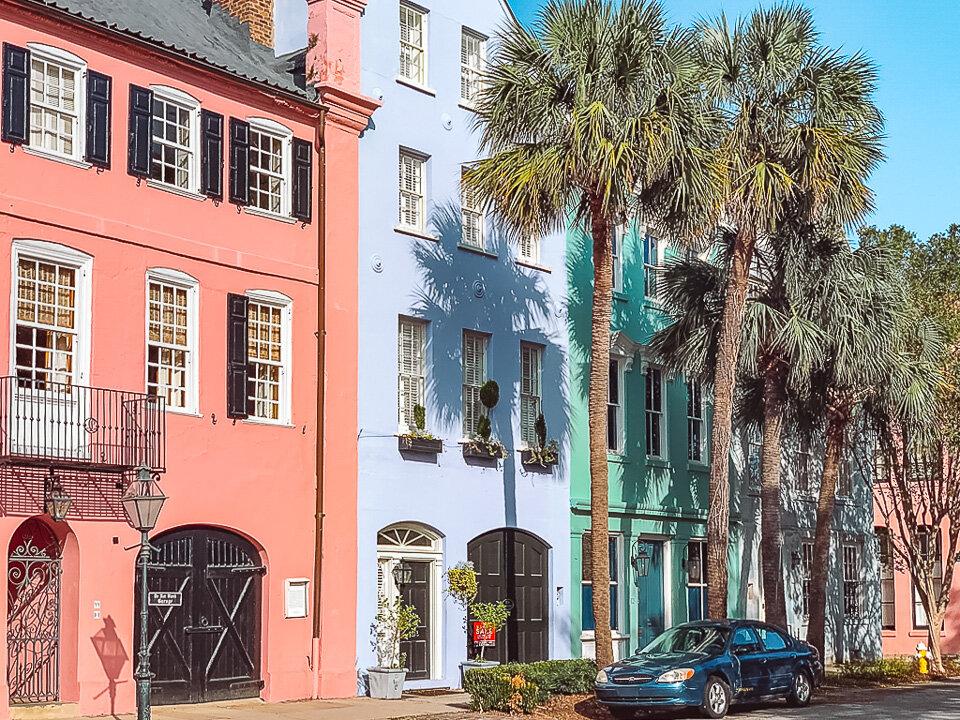 Colorful Rainbow Row in Charleston