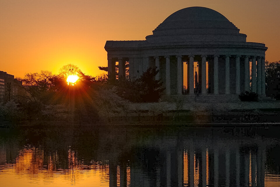 Sunset at the Jefferson Memorial in DC