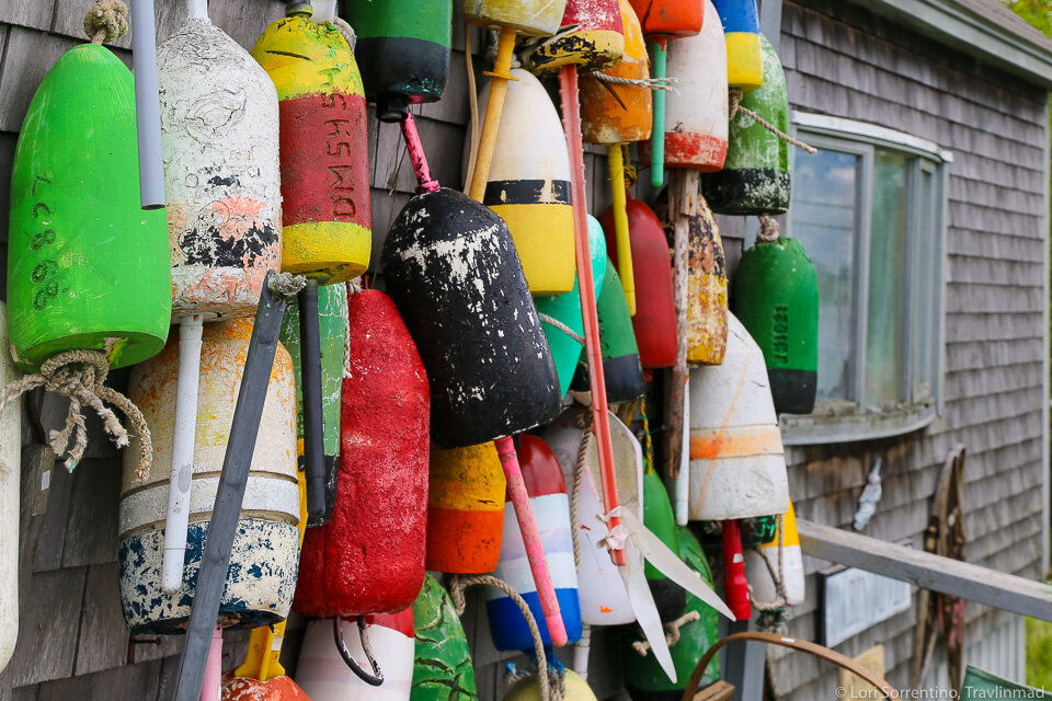 Colorful lobster buoys in Midcoast Maine