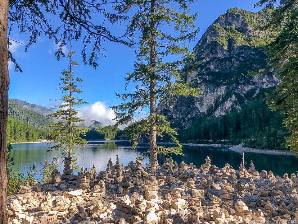 Rock piles surround Lago di Braies