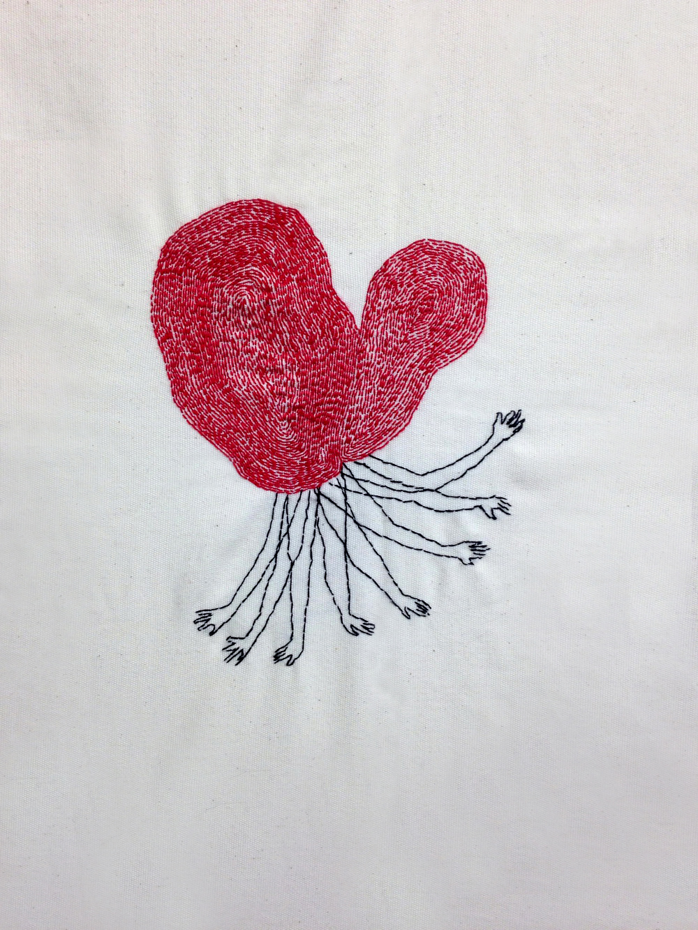 Spider | Hand sewn on Fabric | 35x45 cm