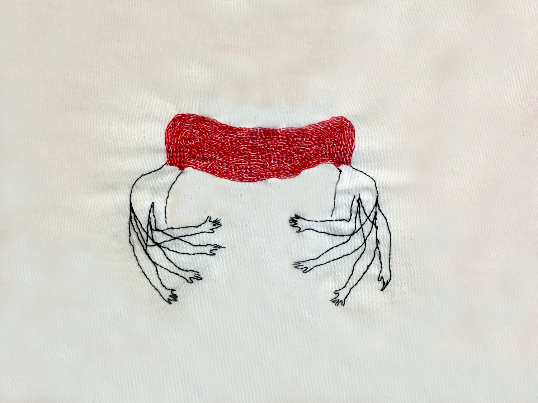 "Flashback | Hand sewn on Fabric | 16x18"""