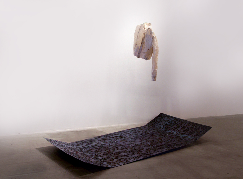"""Installation view of """"If I'd Known That Beforehand""""   8x4 ft.  Welded metal sheet with Farsi text, Handmade coat"""