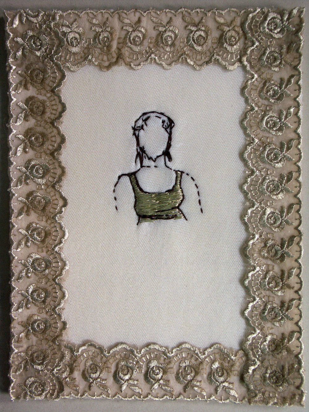 Self portrait | Hand sewn on Fabric| 30x40cm