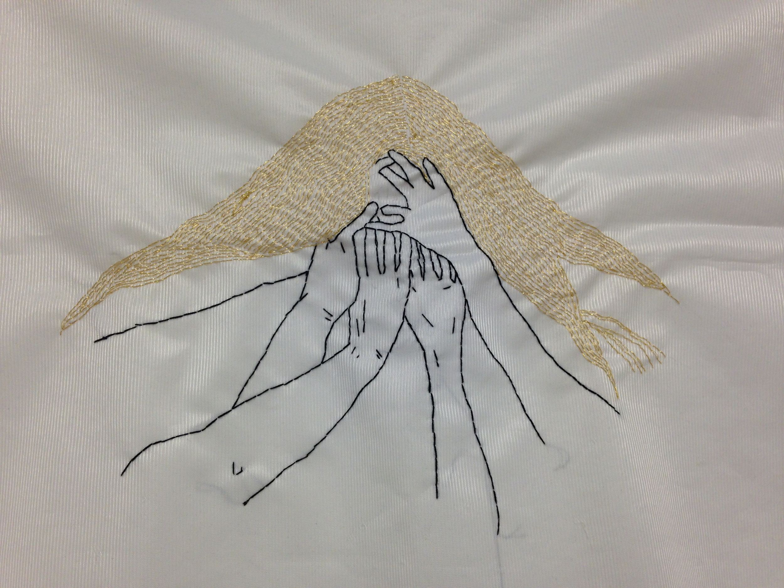 Hands | Hand sewn on Fabric| 30x60cm