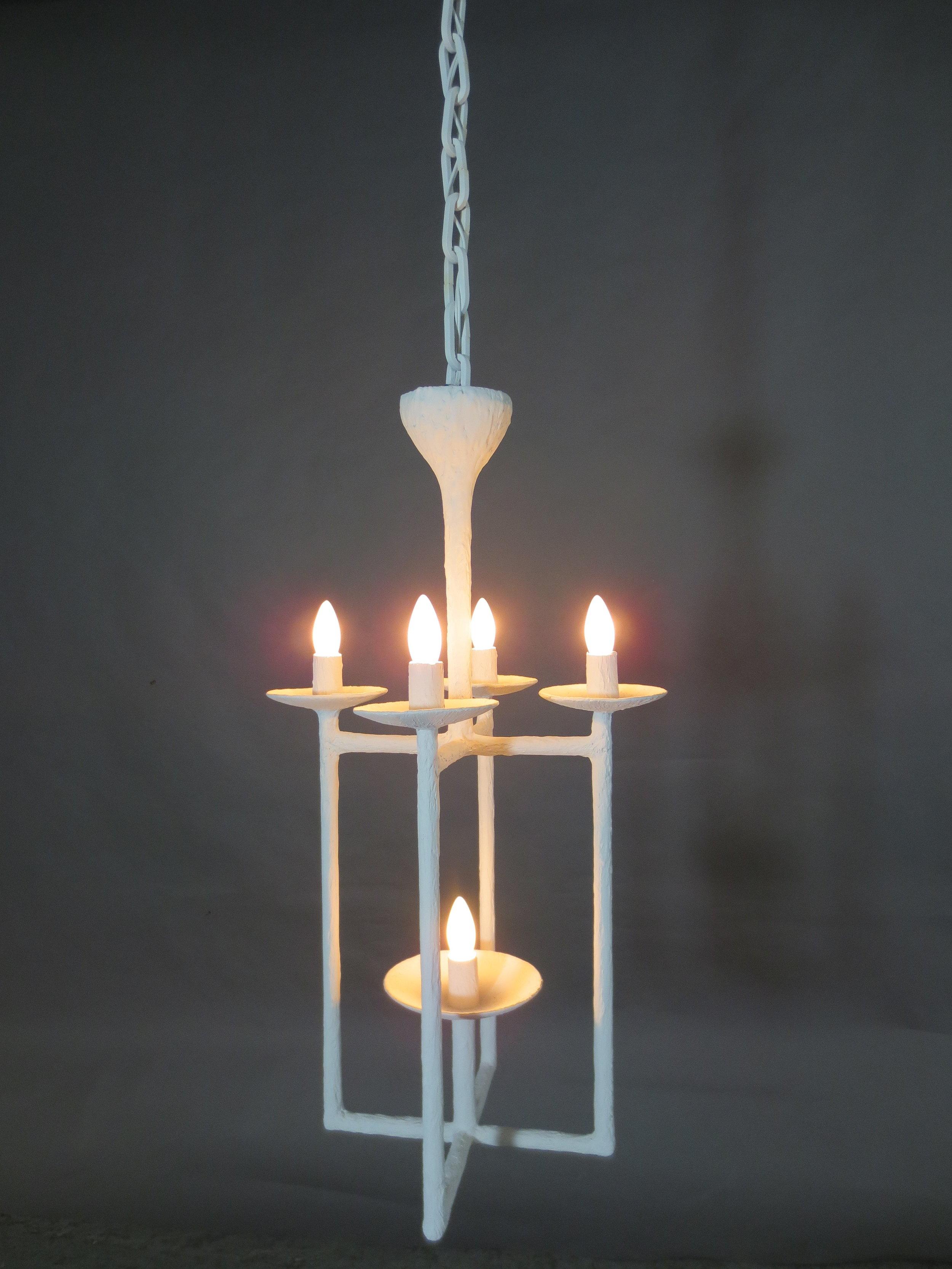 Lantern Chandelier with White Finish