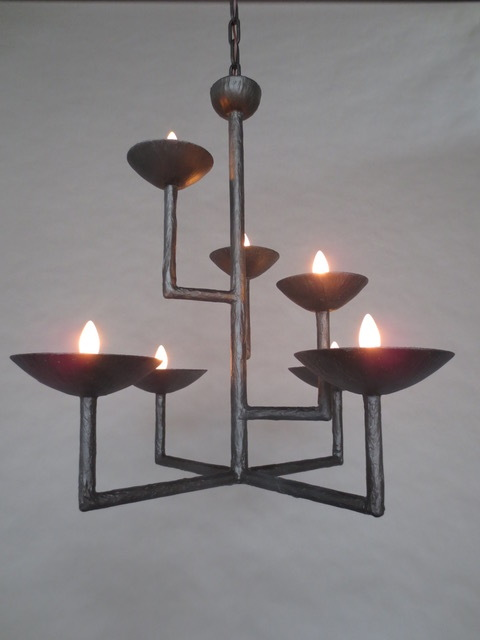 7 Cup Chandelier in Bronze with Half Round