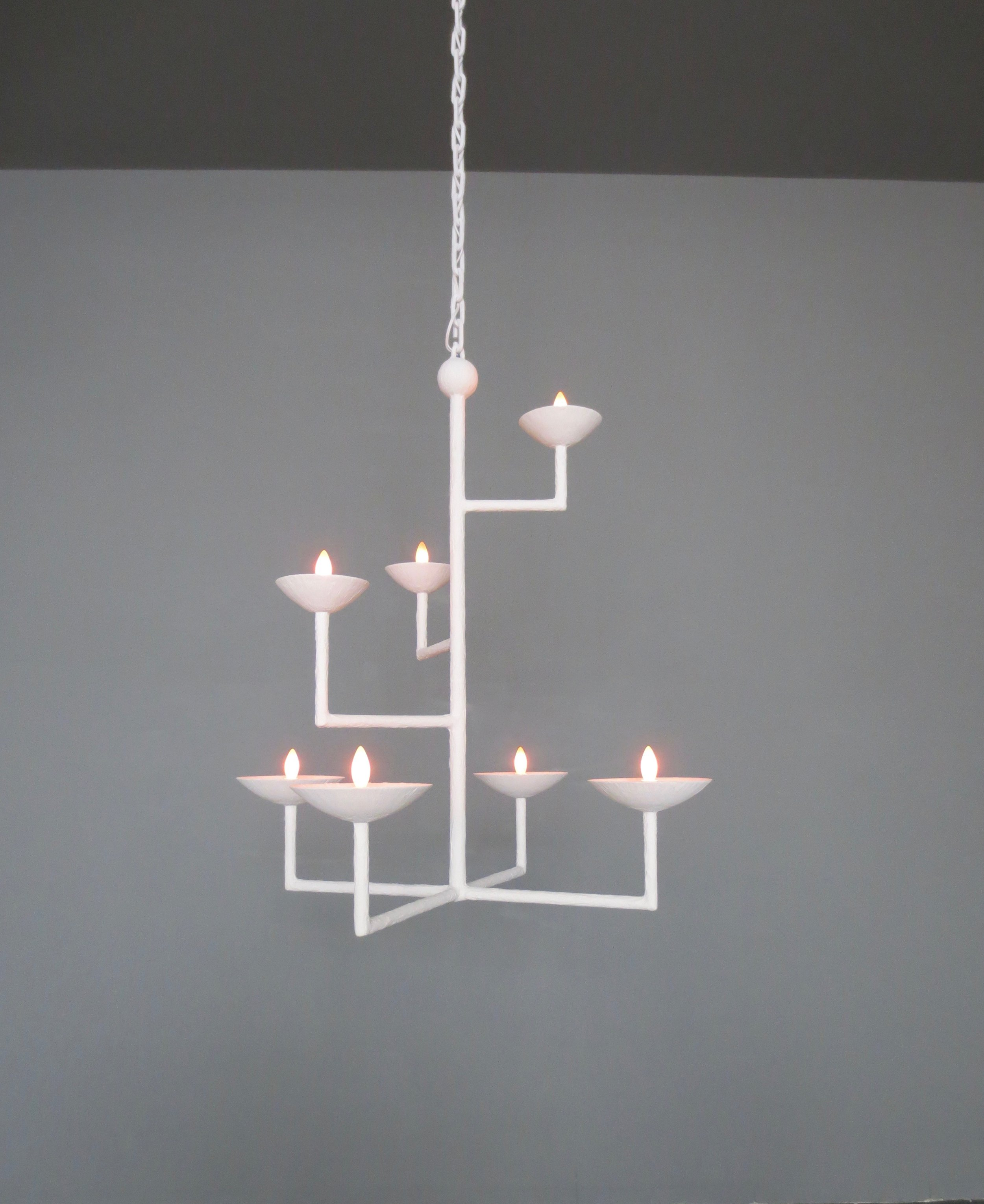 7 Cup Square Chandelier in White with Chain