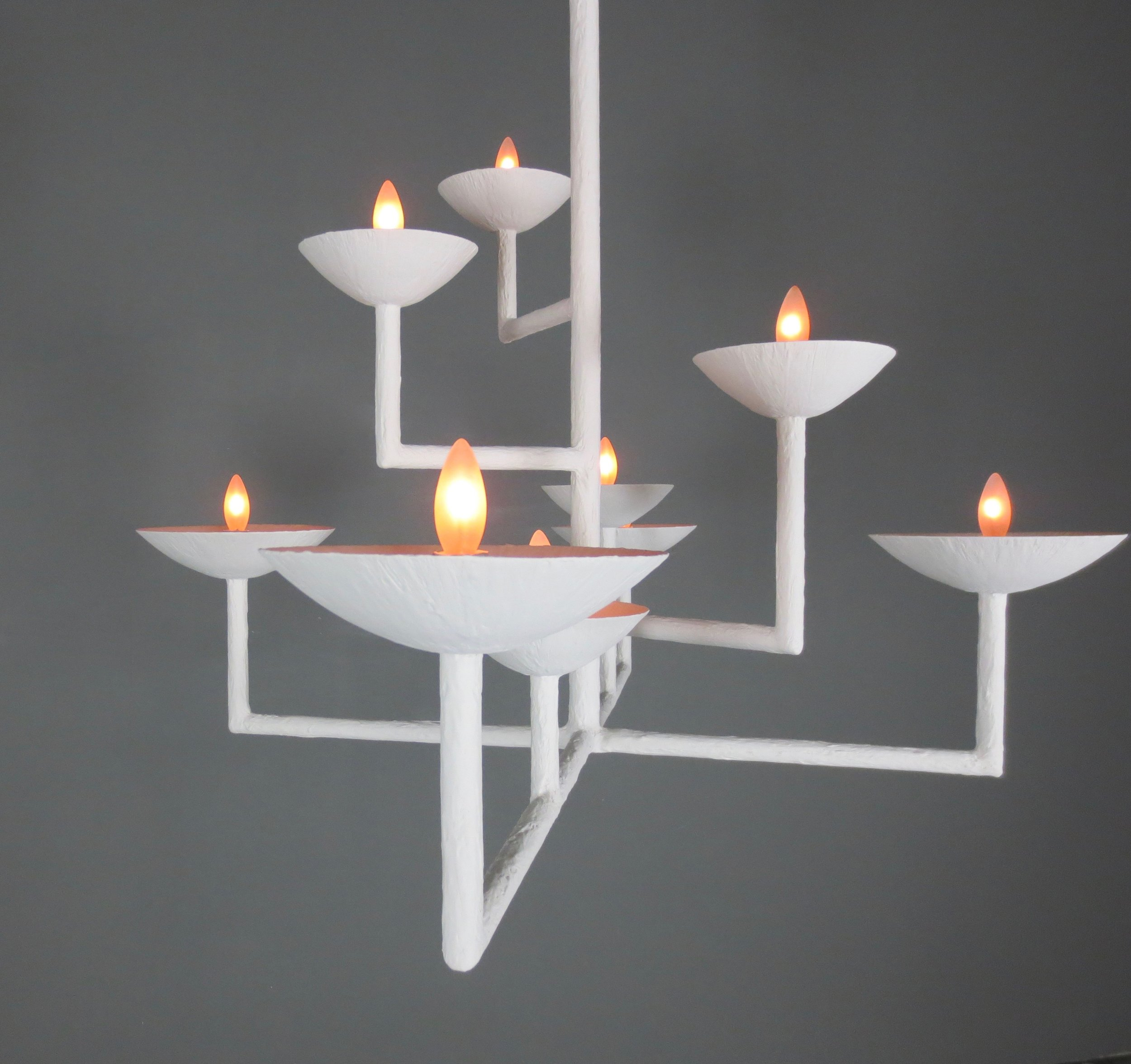 9 Cup Rectangular Chandelier with White Finish