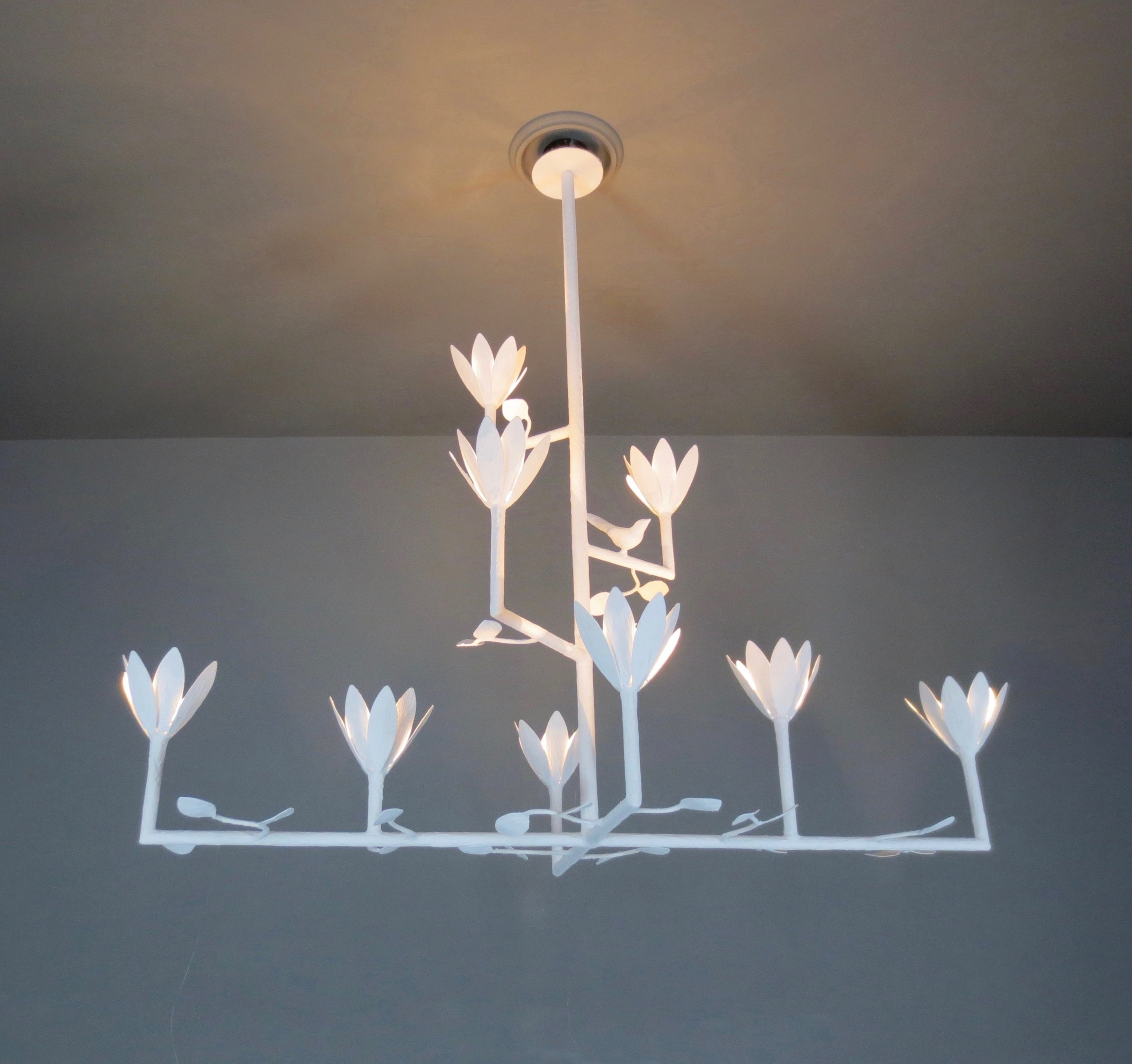9 Bloom Cross Bar Chandelier with Birds and Leaves
