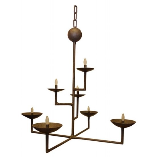 7 Cup Rectangular Chandelier with Bronze Finish