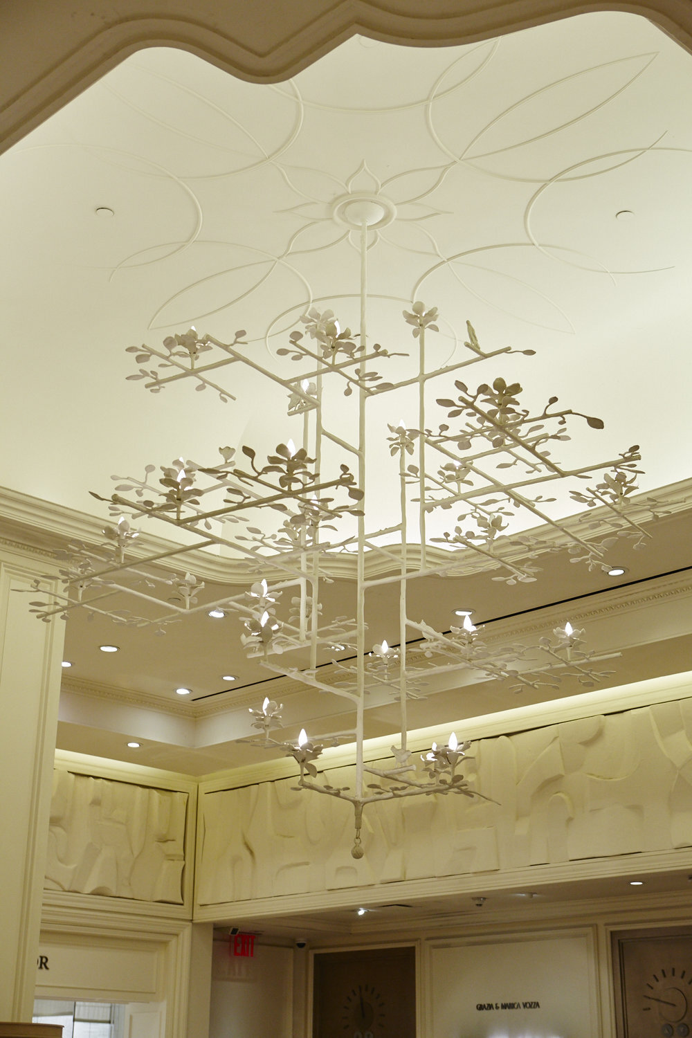 Lotus Chandelier with White Finish