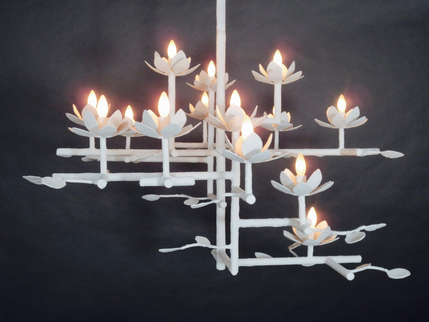 Compressed Lotus Chandelier with White Finish