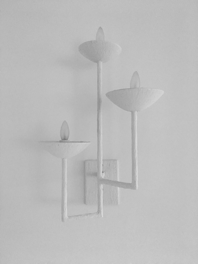 Pair of Three Armed Sconces with Square Base
