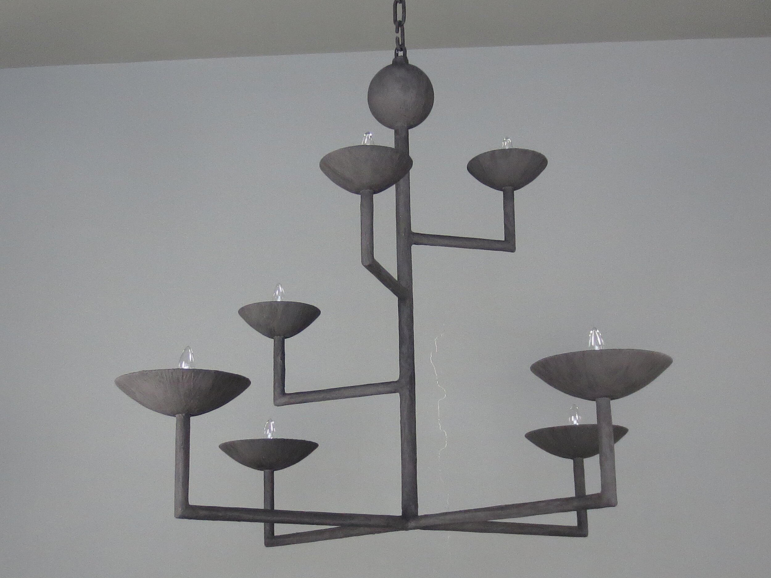 7 Cup Rectangular Chandelier with Black Finish